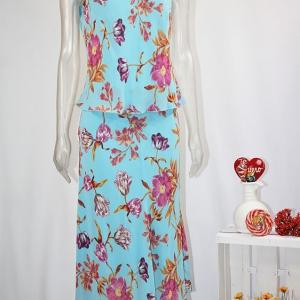 conjunto falda turquesa