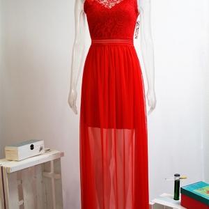 vestido largo rojo encaje