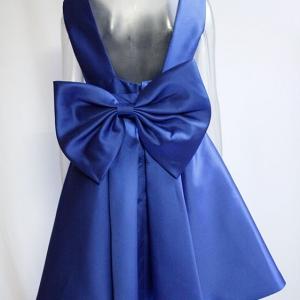 vestido falda campana azul mujer