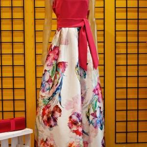 vestido largo ceremonia flores