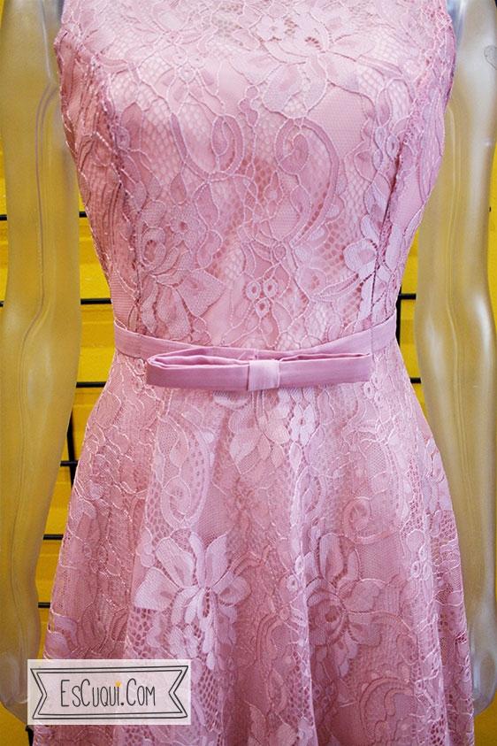 vestido encaje rosa palo