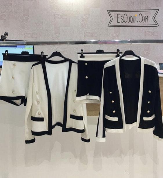 conjunto short y chaqueta blanco y negro