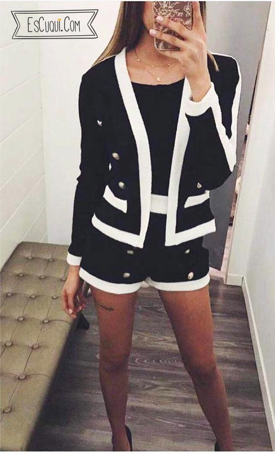 Conjunto short blanco y negro