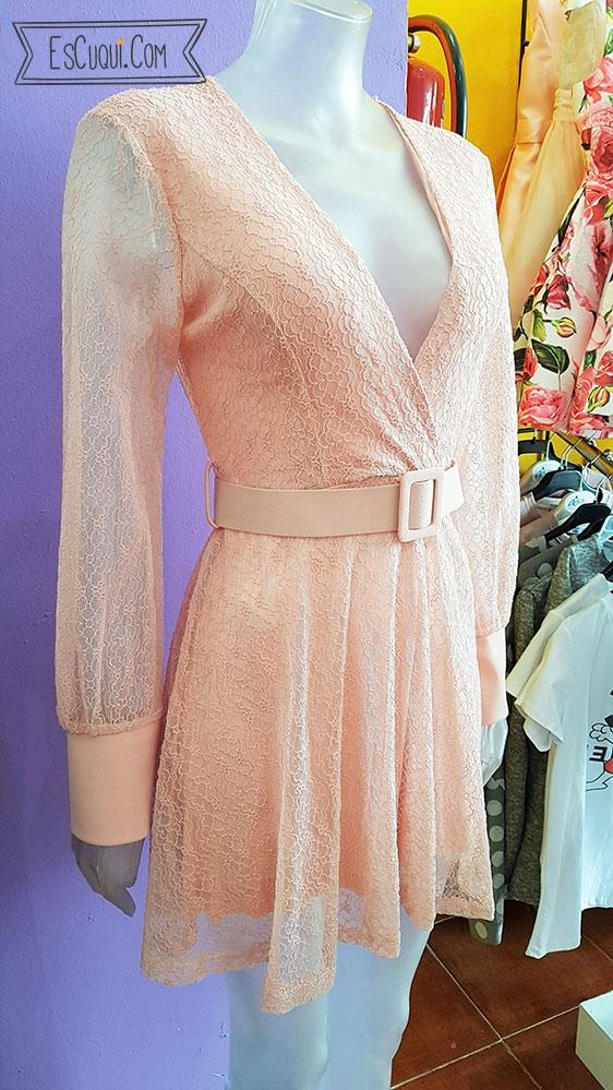 vestido encaje rosa manga larga