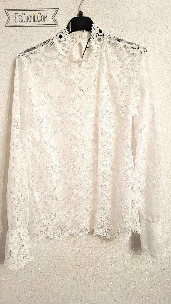 blusa encaje blanca zara