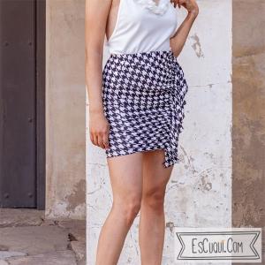 falda pata de gallo drapeada elastica
