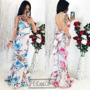 vestido espalda abierta flores lazo volante