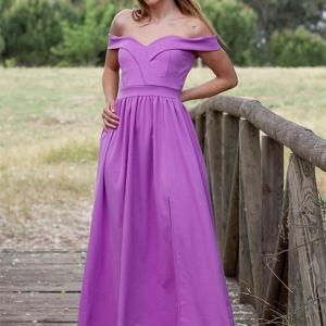 vestido largo vestir morado cuello barco