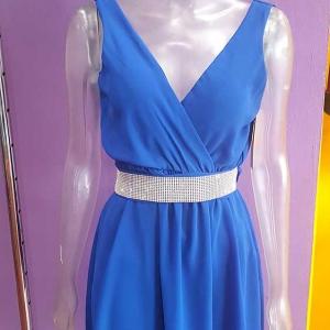 vestido corto gasa azul electrico