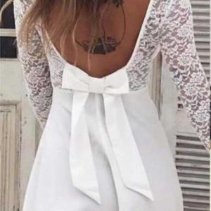 vestido encaje corto lazo