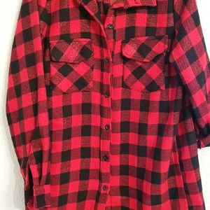 camisa cuadros larga mujer rojo y negro