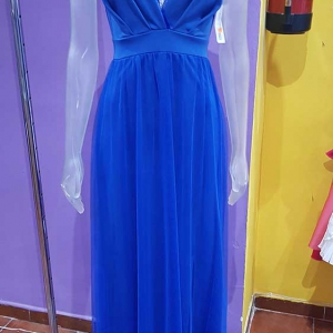 vestido largo azul tul mujer