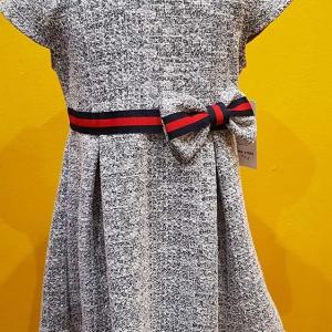 vestido vestir barato nina gris lazo