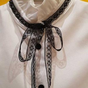 blusa marfil niña lazo negro