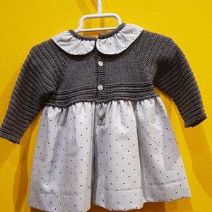 vestido bebe vestir punto y tela gris topitos