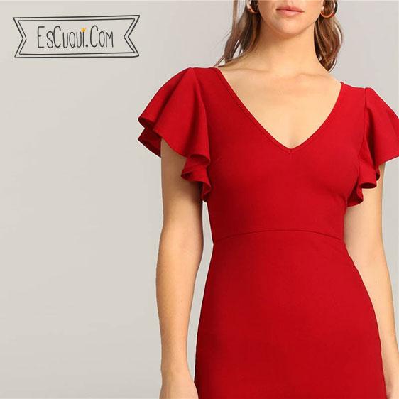 vestido corto rojo vestir volante