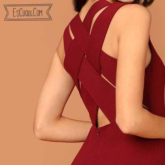 vestido espalda cruzada granate barato