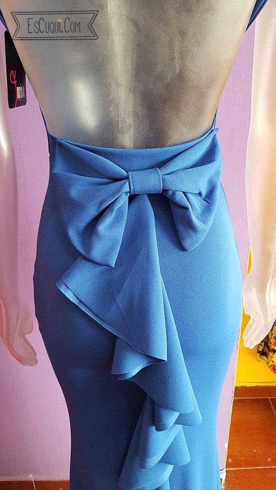 vestido largo azul espalda abierta lazo