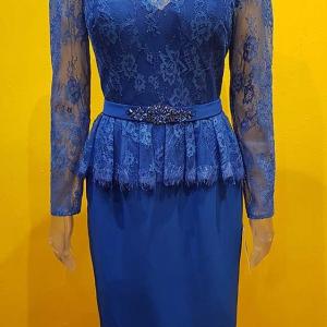 vestido para boda azul mujer