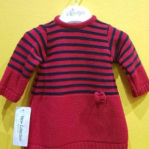 vestido punto bebe rayas rojo marino