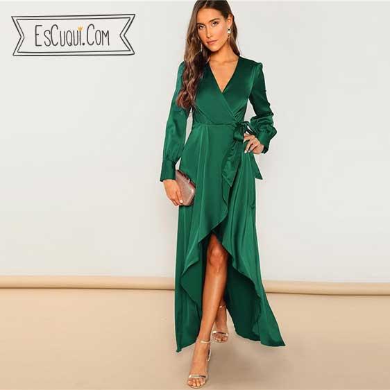 vestido vestir raso verde mujer