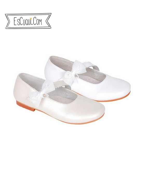 zapato vestir marfil lazo niña