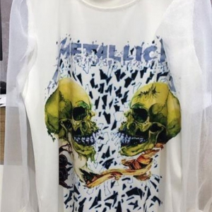 camiseta chica metallica transparencias rockera blanca