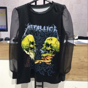 camiseta chica metallica transparencias rockera negra