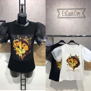 camiseta rey leon mujer blanca negra transparencias mangas