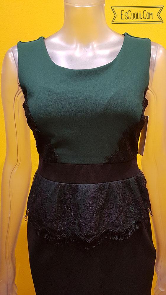vestido vestir verde botella peplum encaje