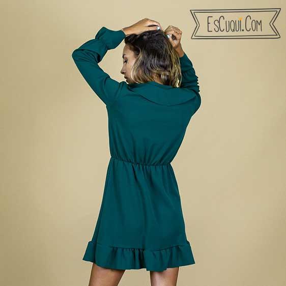 vestido corto volantes mujer manga larga