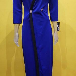 vestido cruzado largo azul mujer