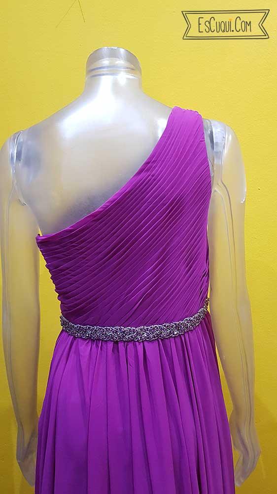 vestido corte helenico largo malva