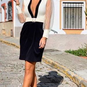 vestido blanco y negro corto vestir plumeti