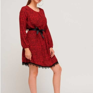 vestido animal print rojo