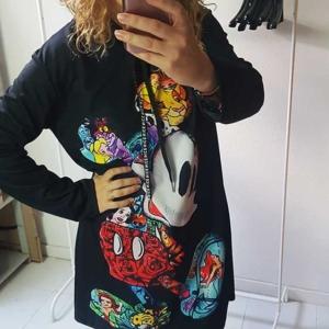 vestido sudadera mickey mouse negro