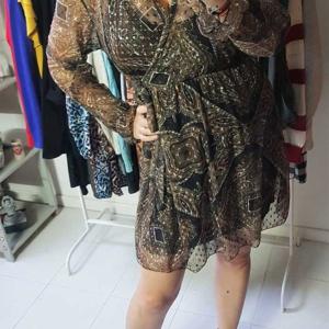 vestido escote cruzado transparencias