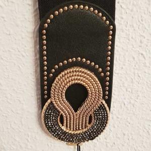 cinturon mujer elastico negro y dorado