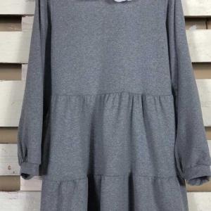 vestido algodon cuello bebe gris