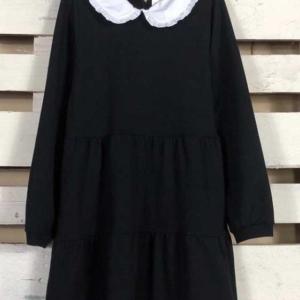 vestido algodon cuello bebe negro
