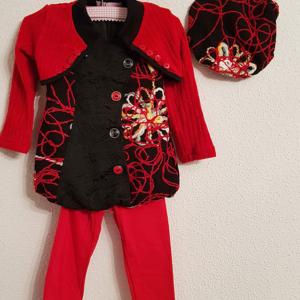 conjunto bebe boina chaqueta vestido desigual leggins