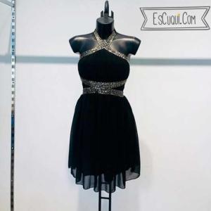 vestido negro corto brilli