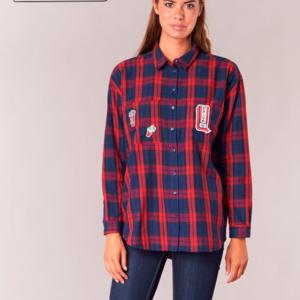 camisa cuadros roja azul mujer