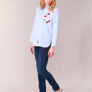 camisa rayas azules parches mujer