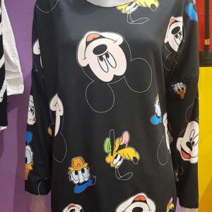 camiseta mujer mickey donald pluto-talla grande negro