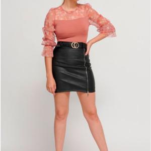 falda polipiel cremallera cinturon negra