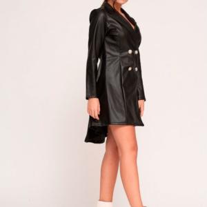 vestido camisero corto polipiel negro