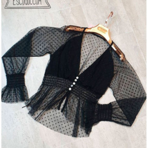 blusa transparencias plumeti negro