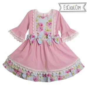 vestido vestir niña lazos flores manga francesa
