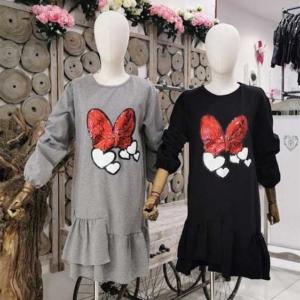 vestido algodon mujer lazo minnie mouse lentejuelas